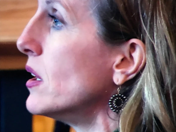 Wendy Whelan wearing pearl earrings in Restless Creature documentary