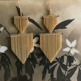 Jessica Rose 2 Shields chain fringe earrings