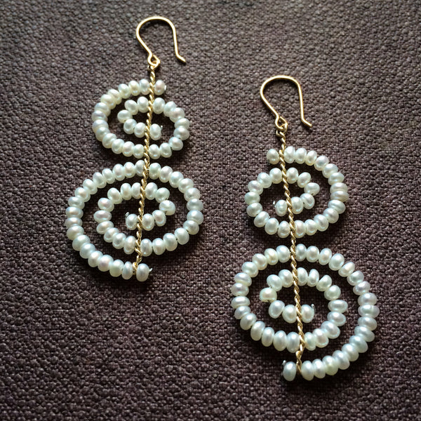 Two Spiral Earrings - White Pearl