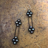 Long pearl earrings in black pearls and oxidized sterling silver