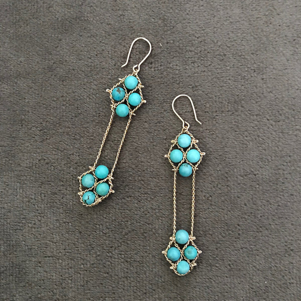Turquoise 2 Nugget Earrings