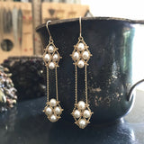 White pearl 2 Nugget earrings
