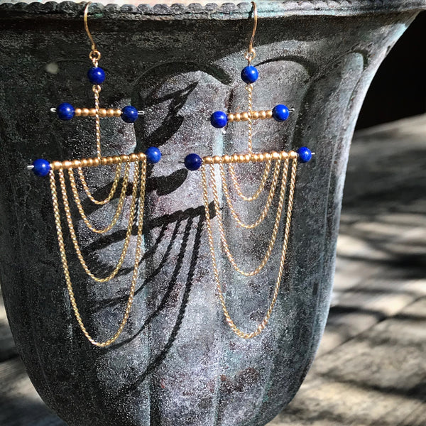 Lapis and gold Draped Chain Earrings
