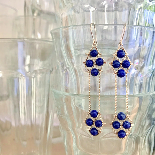 Blue lapis and 14k gold earrings