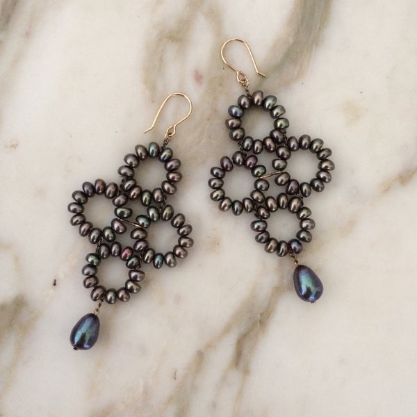 Estyn Hulbert black pearl Baroque Earrings