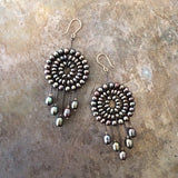 Black pearl Dreamcatcher earrings