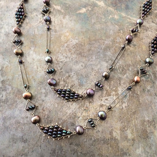 Hoard necklace No 4 in brown pearls, designed by Estyn Hulbert