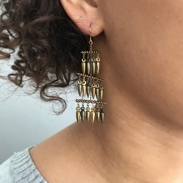 Bullet 3 Sails Earrings - Mixed Toned Metals