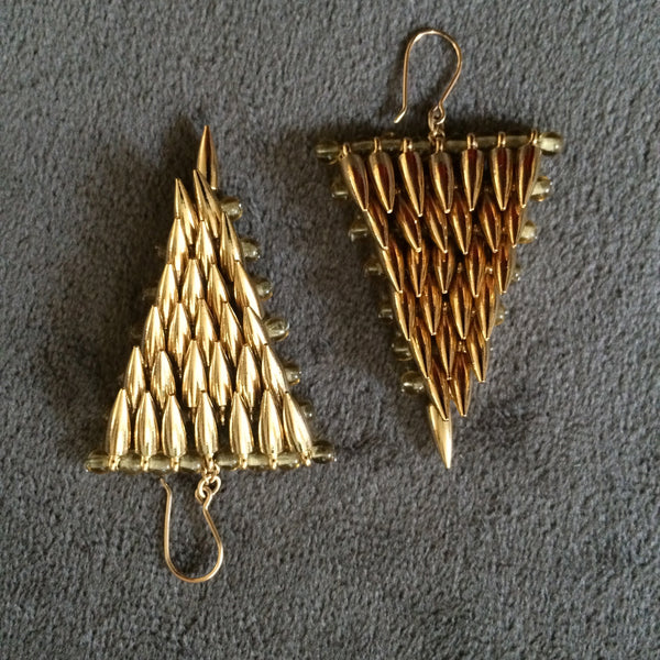 Jessica Rose gold bullet Triangle Earrings