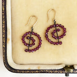 Red garnet spiral earrings