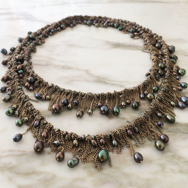 Jessica Rose Chain & Pearl Drop Necklace in peacock pearls