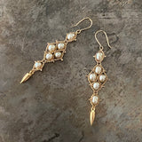 Champagne pearl and gold Arrowhead earrings