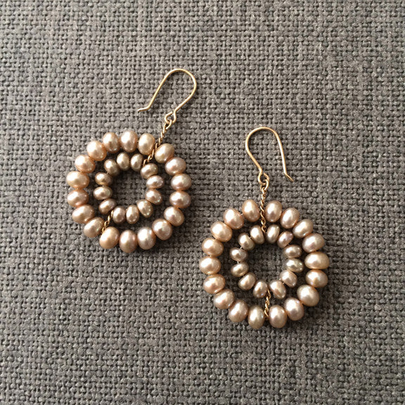 Champagne pearl Daisy earrings designed by Estyn Hulbert