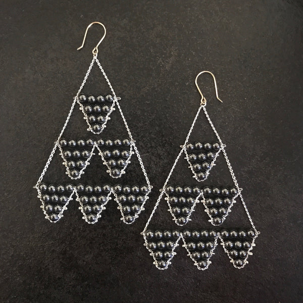 Hematite and silver earrings