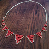 Bunting necklace - coral and gold