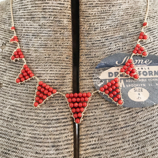 Coral and gold triangles necklace