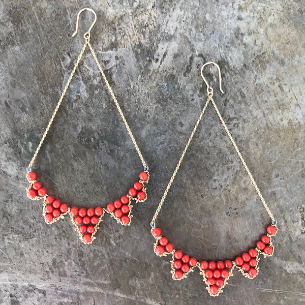 Coral and Gold-Filled Bunting Earrings