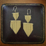 Gold chain fringe earrings - 2 shields by Jessica Rose