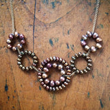 Daisy necklace in mixed brown pearls