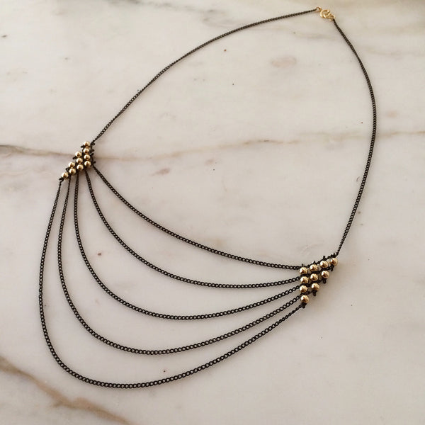 Oxidized silver Draped Chain necklace by Estyn Hulbert