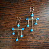 Mini Mondrian Earrings - Blue Agate