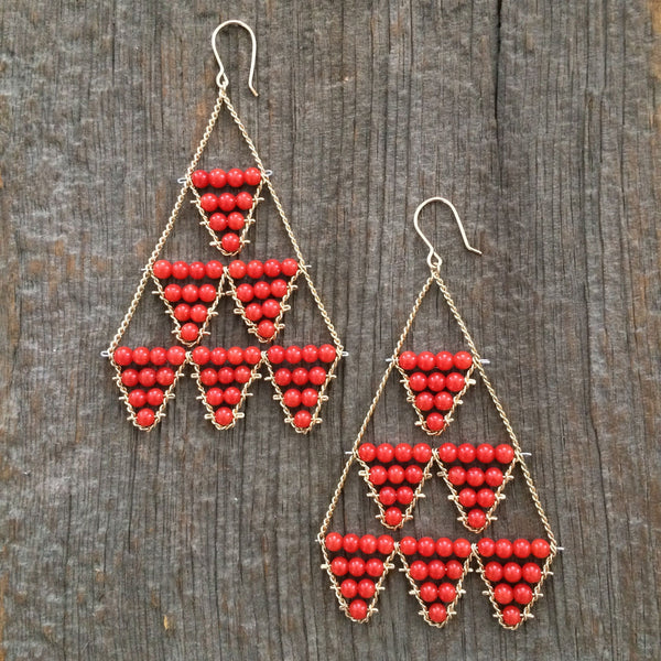 Large coral Circus earrings by Estyn Hulbert