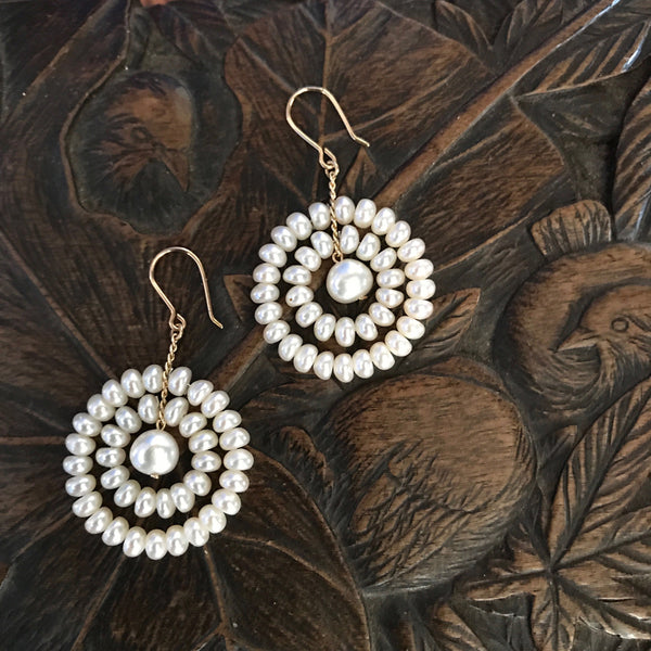 White pearl Moon earrings - perfect as bridal jewelry
