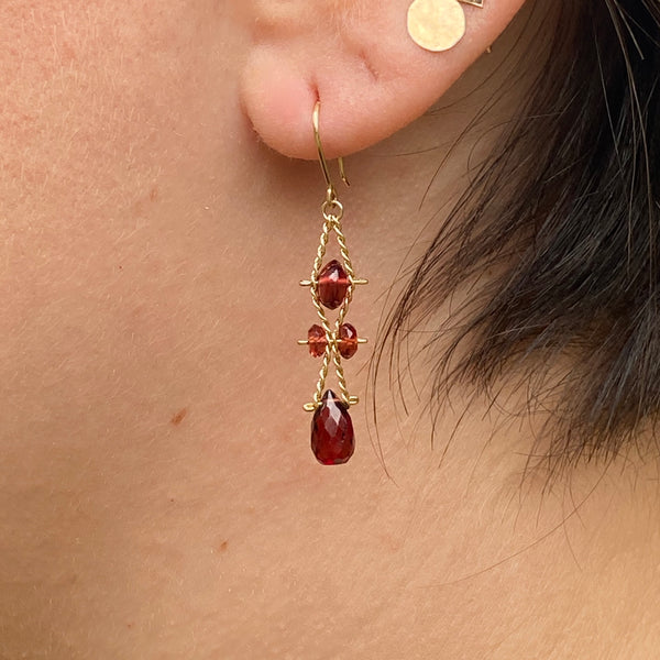 Garnet Wave Earrings - Short