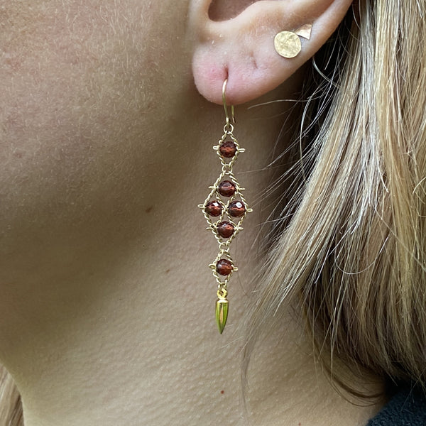 Arrowhead Earrings - Garnet