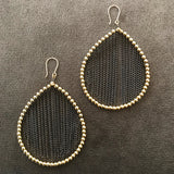 Teardrop earrings in gold and oxidized sterling silver