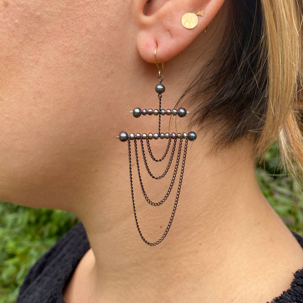 Oxidized silver chain earrings