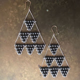 Hematite, gold and silver triangle earrings