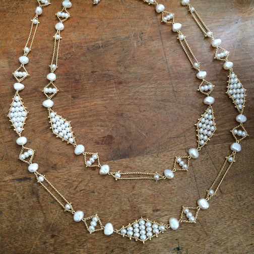 Estyn Hulbert Hoard necklace No 4 in white pearls and gold