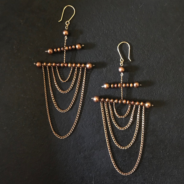 Brown Pearl Draped Chain Earrings