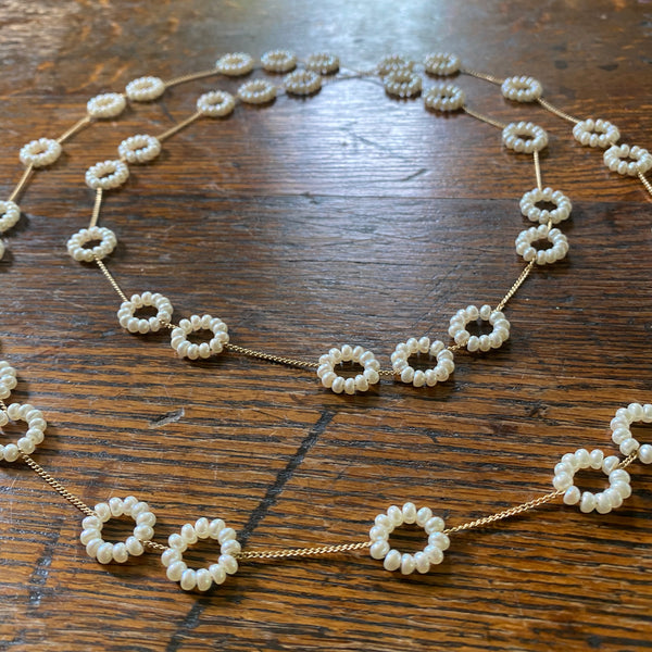 Morse Code necklace in white pearls and gold