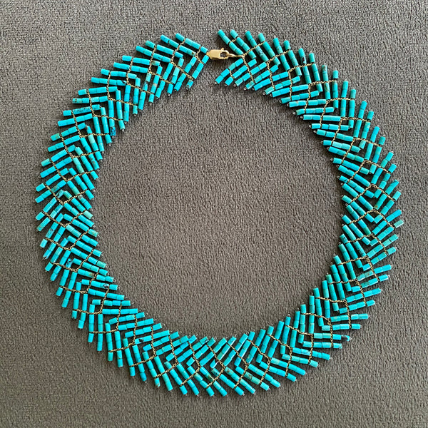 Turquoise and gold choker necklace