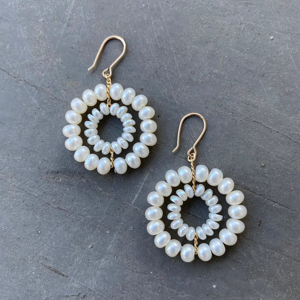 White Pearl and 14k Gold Daisy Earrings