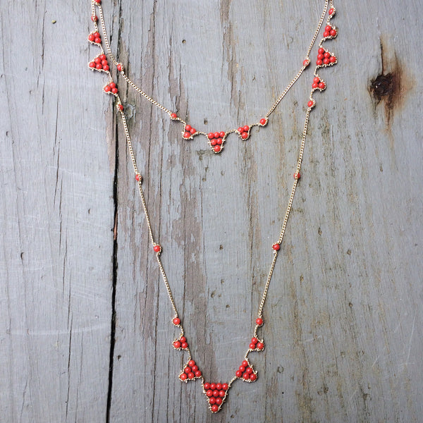 Vintage coral layering necklace