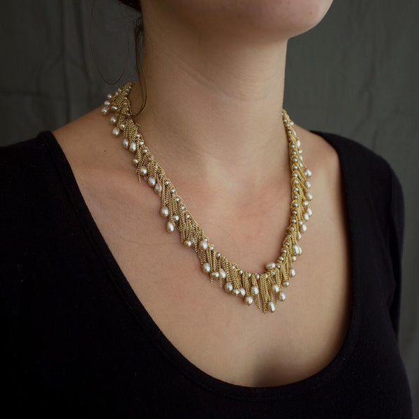 Champagne pearl Chain & Pearl Drop necklace designed by Jessica Rose