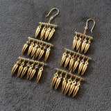 3 Tiered earrings made with gold-plated bullets
