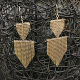 Chain fringe 2 Shields earrings