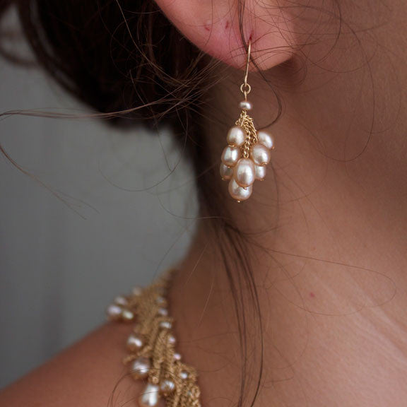 Small Cluster earrings in champagne pearls designed by Jessica Rose