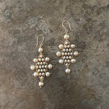 Large Champagne Pearl Kilim Earrings with 14k Gold
