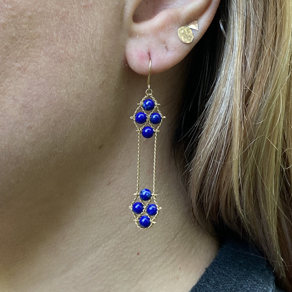 Lapis and gold Nugget earrings