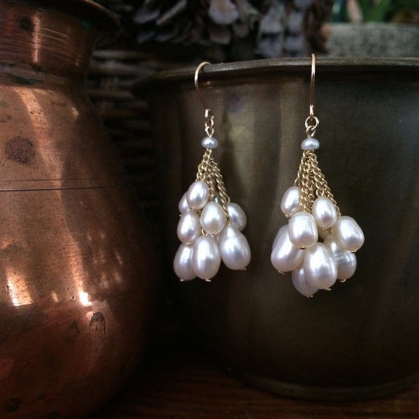 White Pearl Cluster earrings with 14k ear wires