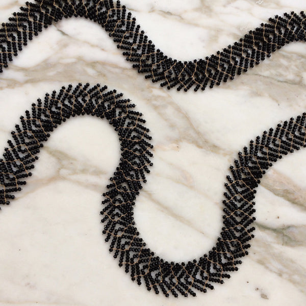 Long black spinel necklace