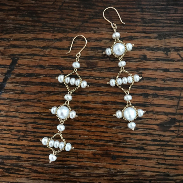 White pearl and gold Mismatched Celtic earrings