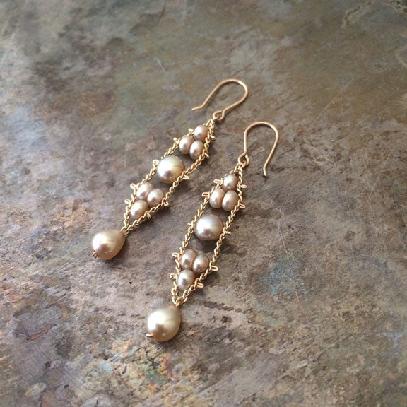 Navette earrings in champagne pearls, designed by Estyn Hulbert