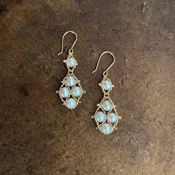 Small Graduated Nugget Earrings - White Pearl