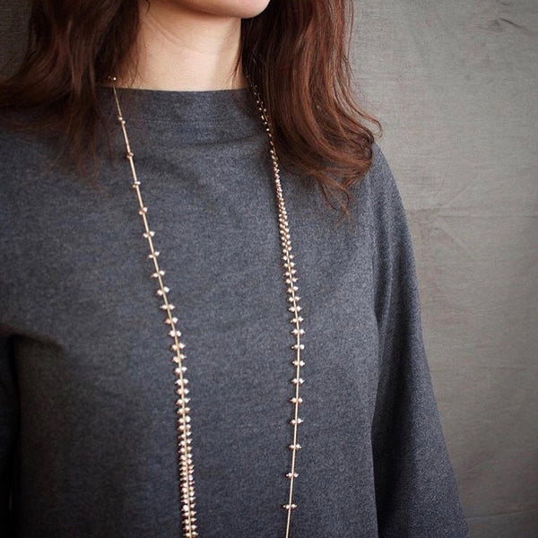 Champagne pearl and gold Rain layering necklace